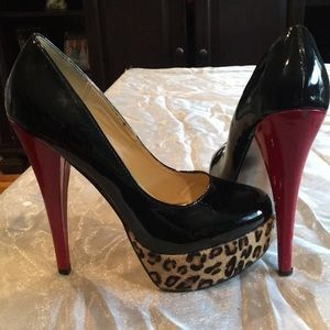 Steve Madden black pumps w/ red heel and cheetah